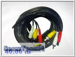 Kamera Systemkabel - BNC + RCA - Video+Audio+Strom, 40 m