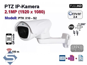 PTZ Full-HD IP-Kamera, 10x optischer Zoom, IP66, Aufloesung 1920 x 1080p, 100m IR (PTK X10 - S2)