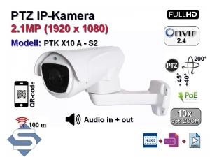 PTZ Full-HD IP-Kamera, 10x optischer Zoom, IP66, Aufloesung 1920 x 1080p, 100m IR, Audio, POE (PTK X10 A - S2)