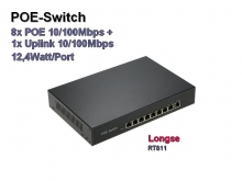 POE Switch, 8x POE 10/100 + 1x Uplink 10/100 Mbps, 12,4W/Port (RT811)