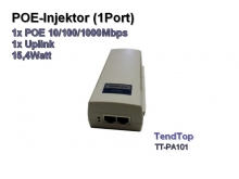 POE Injektor 1Port, 1x POE 10/100/1000Mbps + 1x Upload, 15,4Watt (Tendtop TT-PA101)