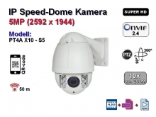 5MP Super HD Speed Dome IP-Kamera, 10x optischer Zoom, IP66, Aufloesung 2592 x 1944p, 100m IR (PT4A X10 - S5)