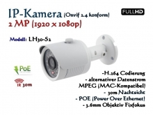 2MP Full-HD Mini IP-Kamera IP66 ONVIF, 1920 x 1080p, 30m IR, POE Stromversorgung, 3.6mm Weitwinkelobjektiv, Modell: IPTec LH30-S2