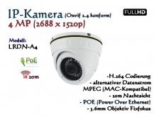 4MP Full-HD Mini Dome IP-Kamera IP66 ONVIF, 2688 x 1520p, 20m IR, POE Stromversorgung, 3.6mm Weitwinkelobjektiv, Modell: IPTec LRDN-A4