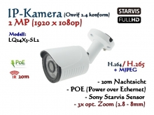 2MP Full-HD Mini IP-Kamera IP66 ONVIF, opt. Zoom 2.8-8mm, 1920 x 1080p, 20m IR, POE Stromversorgung, Modell: IPTec LQ24x3-SL2