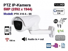 PTZ Full-HD IP-Kamera, 10x optischer Zoom, IP66, 5MP Aufloesung 2592 x 1944p, 100m IR, Audio, POE (PTK X10 A - S5)