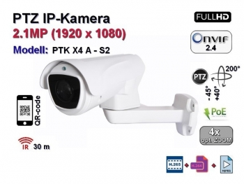 PTZ Full-HD IP-Kamera, 4x optischer Zoom, IP66, Aufloesung 1920 x 1080p, 100m IR, Audio, POE (PTK X4 A - S2)