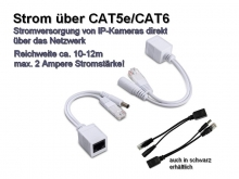 Strom + Daten über CAT5e/CAT6, Reichweite ca. 10-15m, 100 Mbps (IPTec POE-1PA)