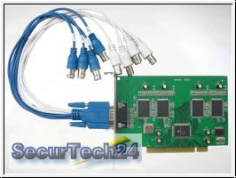 DVR-Karte für 4 Kameras + 4x Audio, 100fps H.264 (404A-PCI)