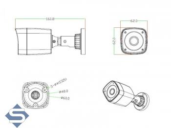 Full HD Überwachungskamera, 1920x1080p, 20m Nachtsicht, 3.6mm, Multisystem AHD / CVI / TVI + CCTV, Mod.: LBM24-HD