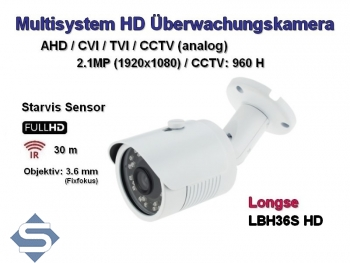 Full HD Überwachungskamera, Starvis Sensor, 1920x1080p, 30m IR, 3.6mm Weitwinkel, Multisystem AHD / CVI / TVI + CCTV (LH36S-HD)