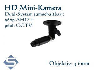 HD Minikamera / Überwachungskamera, 1280x960p, 3.6 mm Objektiv,  Dualsystem AHD + CCTV (LPA130-AD)