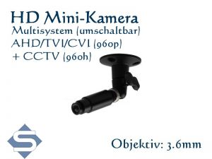 HD Minikamera / Überwachungskamera, 1280x960p, 3.6 mm Objektiv,  Multisystem AHD, CVI, TVI + CCTV (LPA130-S)