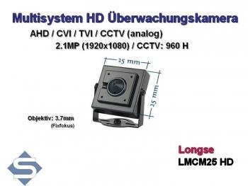 HD Minikamera / Überwachungskamera, 1280x960p, 3.6 mm Objektiv,  Dualsystem AHD + CCTV (LCM25-AD)