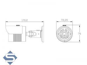 HD Überwachungskamera, 1280x960p, 30m Nachtsicht, 3.6mm Fixfokus, Dualsystem AHD + CCTV (LH30-AD)