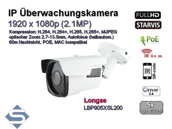 IP-Überwachungskamera 2.1MP (1920x1080), H.264+/H.265+/MJPEG, 60m IR Nachtsicht, POE, opt. Zoom 2.8-12mm, SONY Starvis, Modell: LBP905XSL200