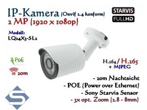 2MP Full-HD Mini IP-Kamera IP66 ONVIF, opt. Zoom 2.8-8mm, 1920 x 1080p, 20m IR, POE Stromversorgung, Modell: IPTec LQ24x3-SL2