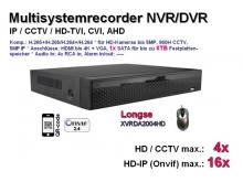 Multisystem-Recorder XVR, 4x CCTV/AHD/CVI/TVI (bis 5MP) | 16x IP (bis 5MP), 1x SATA, Modell: XVRDA2004HD