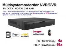 Multisystem-Recorder XVR, 4x CCTV/AHD/CVI/TVI (bis 8MP/4K) | 16x IP (bis 8MP/4K), 1x SATA, Modell: XVRDA2104D