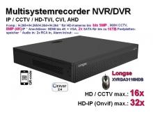 Multisystem-Recorder XVR, 16x CCTV/AHD/CVI/TVI (bis 5MP) | 32x IP (bis 8MP/4K), 2x SATA, Modell: XVRDA3116HDB
