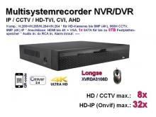 Multisystem-Recorder XVR, 8x CCTV/AHD/TVI/CVI (bis 8MP/4K) | 32x IP (bis 8MP/4K), 1x SATA, Modell: XVRDA3108D