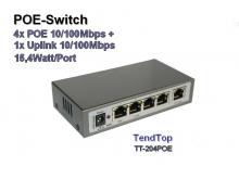 POE Switch, 4x POE + 1x Uplink 10/100 Mbps, 15,4W/Port (Tendtop TT-204POE)