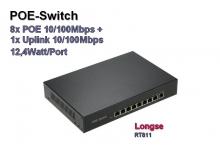 POE Switch, 8x POE 10/100 + 1x Uplink 10/100 Mbps, 12,4W/Port (RT811)