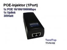 POE Injektor, 1x POE 10/100/1000Mbps + 1x Upload, 30Watt (Tendtop TT-PA102)