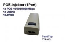 POE Injektor 1Port, 1x POE 10/100/1000Mbps + 1x Upload, 15,4Watt (Tendtop TT-PA101)