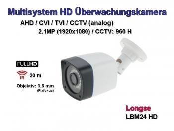Full HD Überwachungskamera, 1920x1080p, 20m Nachtsicht, 3.6mm, Multisystem AHD / CVI / TVI + CCTV (LM24-HD)