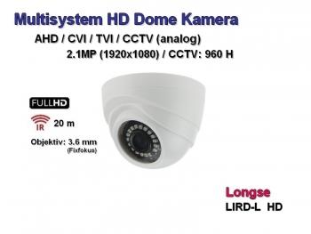 Full HD Dome-Überwachungskamera, 1920x1080p, 20m Nachtsicht, 3.6mm, Multisystem AHD / CVI / TVI + CCTV (LQ24-HD)