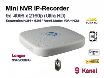 Mini NVR IP-Kamera Recorder, H.265 / H.264, Onvif, 9x max. 4096x2160 Ultra-HD/4K, Modell: NVR9809PG