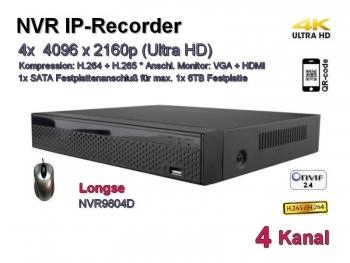NVR IP-Kamera Recorder, H.265 / H.264, Onvif, 4x max. 4096x2160 Ultra-HD/4K, Modell: NVR9804D