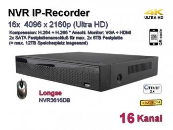 IP-Kamera Recorder NVR, H.265 / H.264, Onvif, 16x max. 4096x2160 Ultra-HD/4K, Modell: NVR3616DB