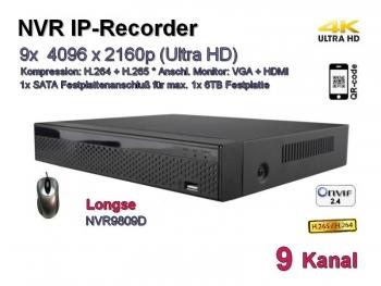 NVR IP-Kamera Recorder, H.265 / H.264, Onvif, 9x max. 4096x2160 Ultra-HD/4K, Modell: NVR9809D