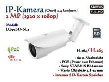 2MP Full-HD IP-Kamera ONVIF 1920x1080, H.264/H.265/MJPEG, SD-Kartenslot, 60m IR, POE Stromversorgung, Sony Starvis, Vario Objektiv 2.8-12mm, Farbe: weiß, Modell: IPTec LG90SD-SL2