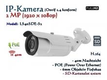 2MP Full-HD IP-Kamera ONVIF 1920x1080, H.264/H.265/MJPEG, ext. SD-Kartenslot, 40m IR, POE Stromversorgung, Objektiv 6mm, Farbe: weiß, Modell: IPTec LS40SDE-S2
