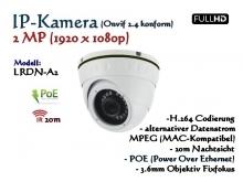 2MP Full-HD Mini Dome IP-Kamera IP66 ONVIF, 1920 x 1080p, 20m IR, POE Stromversorgung, 3.6mm Weitwinkelobjektiv, Modell: IPTec LRDN-A2