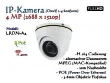 4MP Full-HD Mini Dome IP-Kamera IP66 ONVIF, 2688 x 1520p, 20m IR, POE Stromversorgung, 3.6mm Weitwinkelobjektiv, Modell: IPTec LRDN-A4