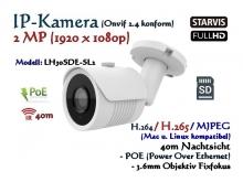 2MP Full-HD Mini IP-Kamera IP66 ONVIF, 1920 x 1080p, 40m IR, POE, 3.6mm Weitwinkel, SD-Laufwerk, Sony Starvis Sensor, Modell: IPTec LH30SDE-SL2