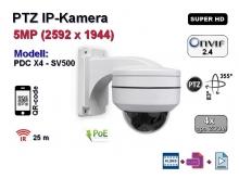 PTZ Super-HD IP-Kamera, 4x optischer Zoom, IP66, Aufloesung 2592 x 1944p, POE, 25m IR (PDC X4 - SV500)