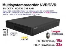 Multisystem-Recorder XVR, 16x CCTV/AHD/CVI/TVI (bis 8MP/4K) | 32x IP (bis 8MP/4K), 2x SATA, Modell: XVRDA3116DB