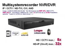 Multisystem-Recorder XVR, 8x CCTV/AHD/TVI/CVI (bis 8MP/4K) | 32x IP (bis 8MP/4K), 2x SATA, Modell: XVRDA3108DB