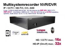 Multisystem-Recorder XVR, 16x CCTV/AHD/CVI/TVI (bis 8MP/4K) | 32x IP (bis 8MP/4K), 8x SATA, Modell: XVRDA3116L