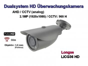 Full HD Überwachungskamera, 2.1MP (1920x1080p), 30m Nachtsicht, 3.6mm,  Dualsystem AHD + CCTV, Mod.: LICG36-HD